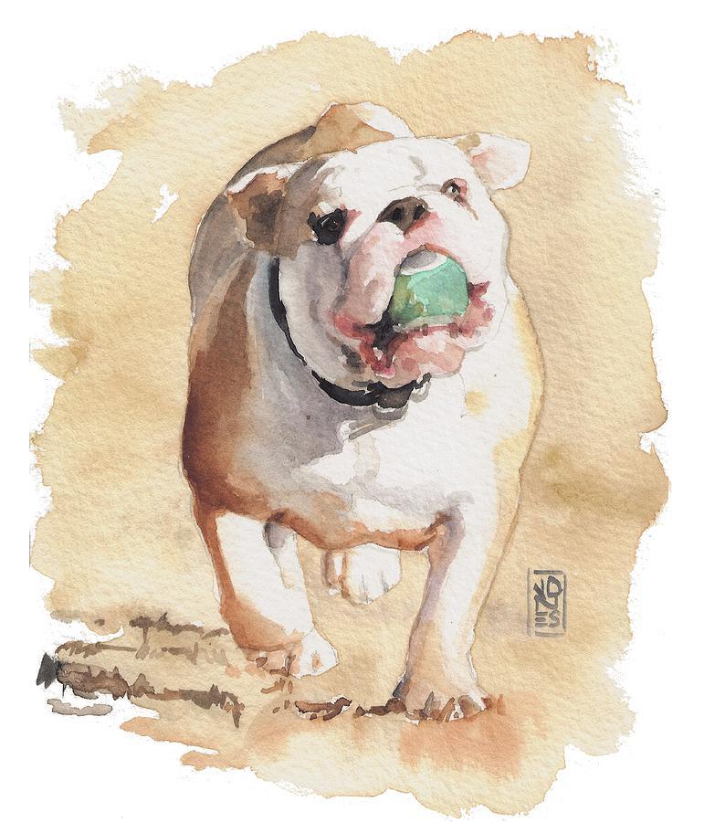 Bull And Ball Painting by Debra Jones