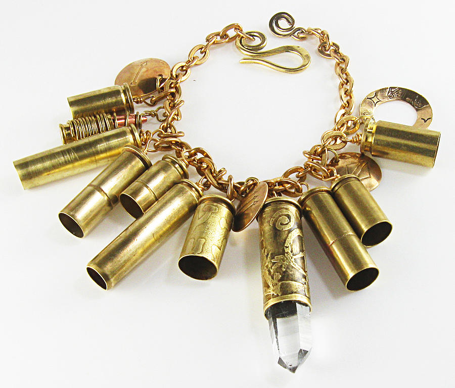 Bullet Shell Rock Crystal Point Bracelet by Virginia Vivier