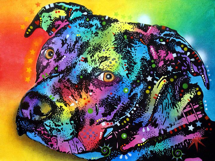 dean Russo Painting Dog Dogs pit Bull Portrait Graffiti pop Art Pop Pitbull Bully Bullie Bullys Bullies american Pit Bull Terrier Terrier Pit Pits Pitty Pittie Pity Painting - Bullseye by Dean Russo