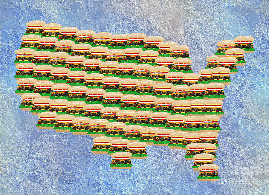 Abstract Digital Art - Burger Town Usa Map by Andee Design