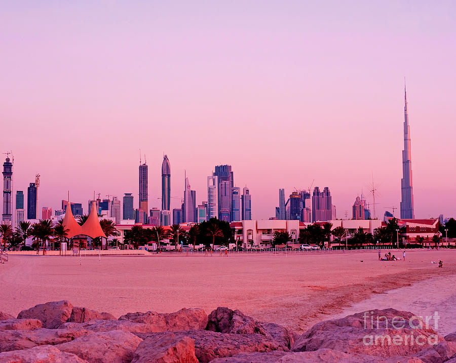 Dubai Photograph - Burj Khalifa Previously Burj Dubai At Sunset by Chris Smith