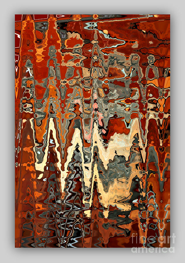 Burnt Orange And Gray Abstract With Border Photograph