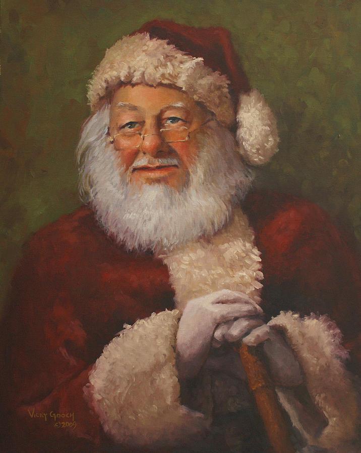 Portrait Painting - Burts Santa by Vicky Gooch