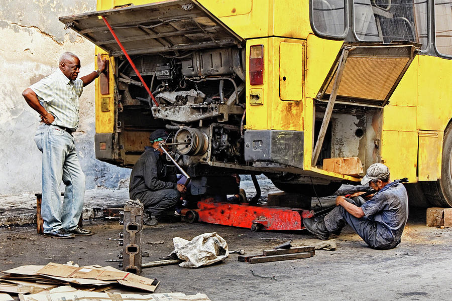 Auto Mechanic Photograph - Bus Repairs by Dawn Currie