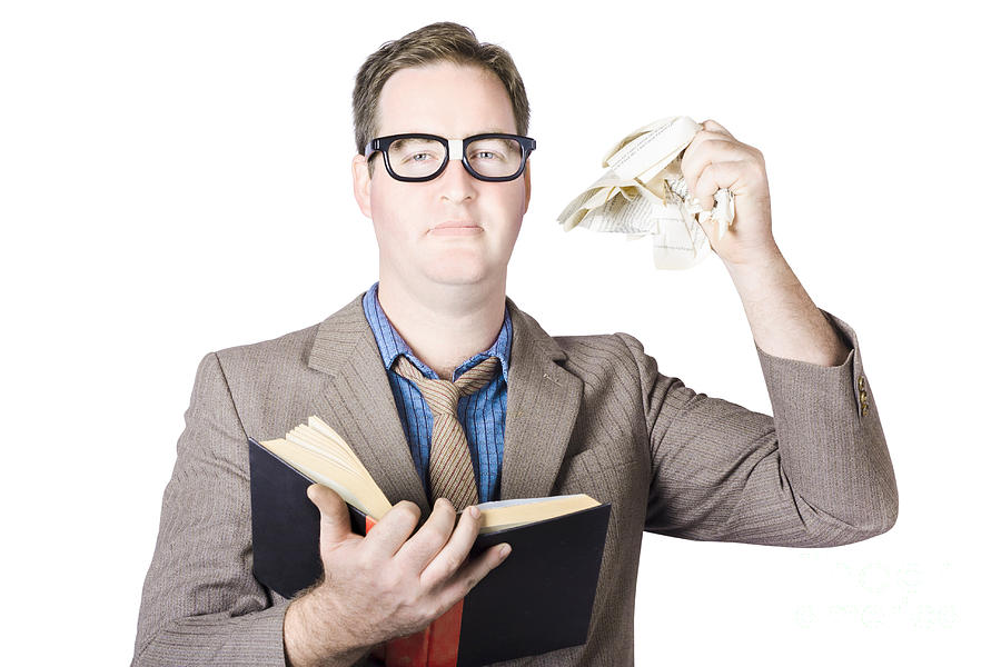 Holding Photograph - Businessman Tearing Pages From Book by Jorgo Photography - Wall Art Gallery