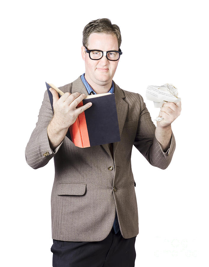 Holding Photograph - Businessman With Book And Crumpled Paper by Jorgo Photography - Wall Art Gallery