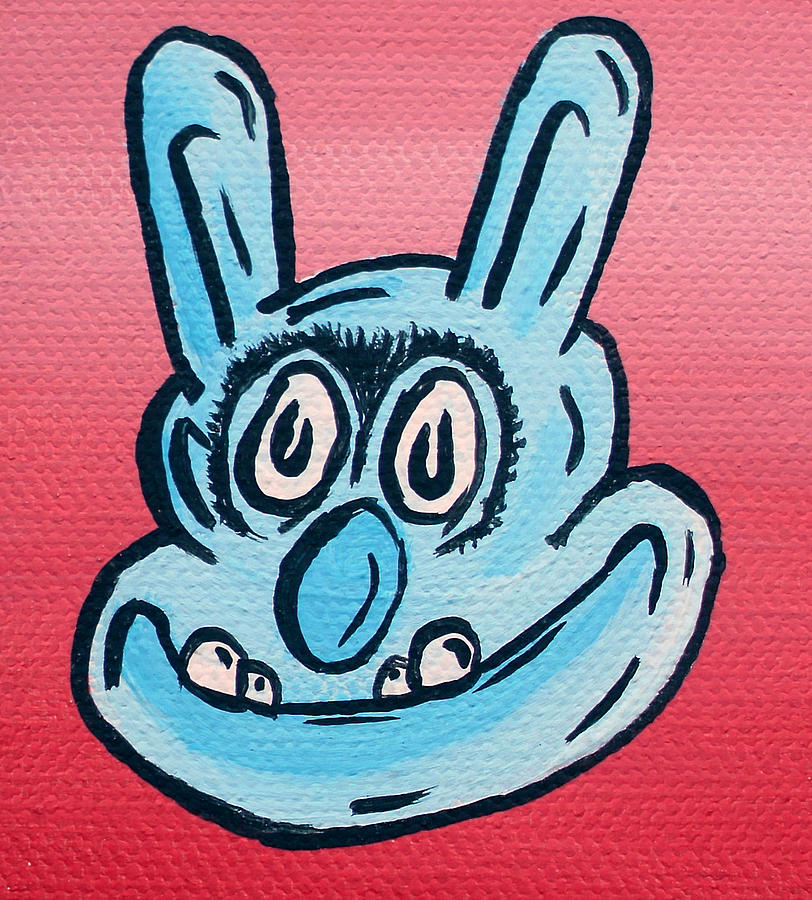 Buster Tattoo Artist Roast Beef Sandwich Cool Rockabilly Red Blue Eyebrows Confident Bunny Animal Creature Character Cartoon Portrait Toon Painting - Buster by Jera Sky
