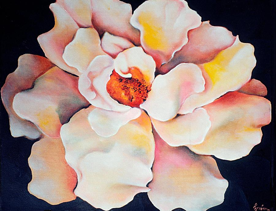 Large Floral Painting - Butter Flower by Jordana Sands