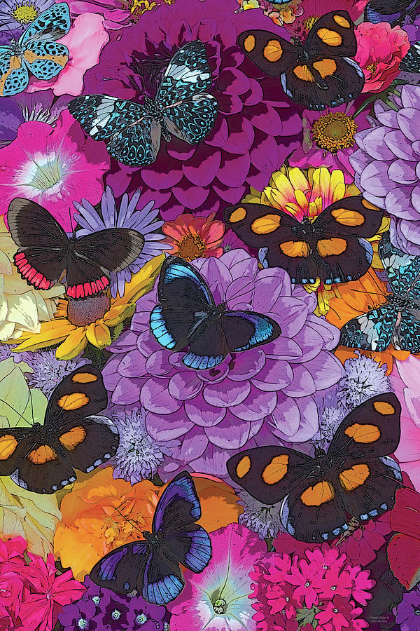 Butterfly Painting - Butterflies And Flowers 2 by JQ Licensing