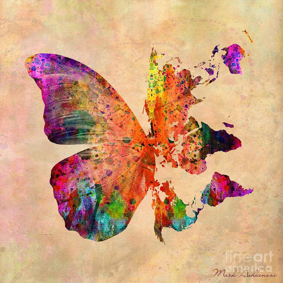 Butterfly Digital Art - Butterfly World Map  by Mark Ashkenazi