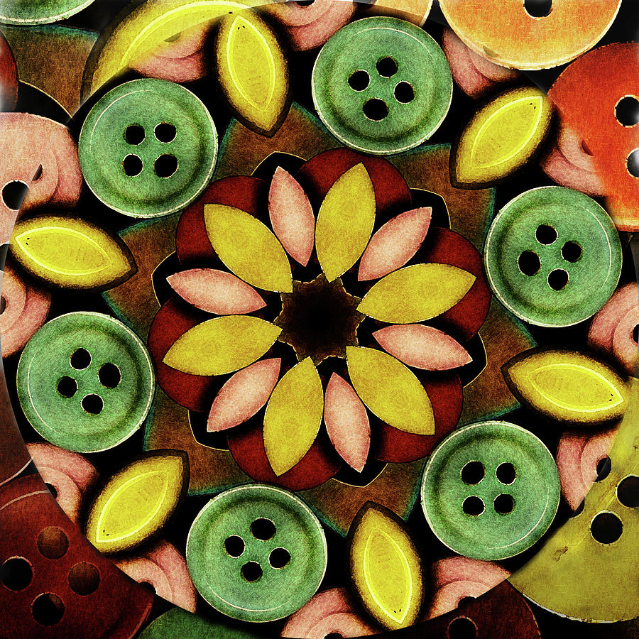 Vintage Buttons Digital Art - Buttons Abstract by Bonnie Bruno