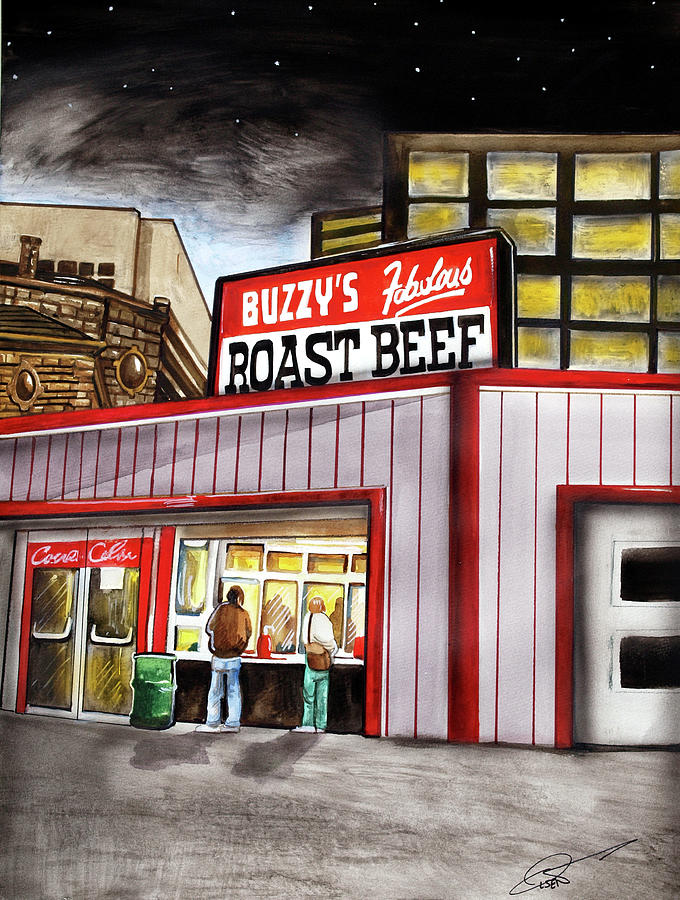 Buzzy's Roast Beef Painting - Buzzys Fabulous Roast Beef by Dave Olsen
