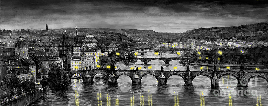 Bw Prague Bridges Painting