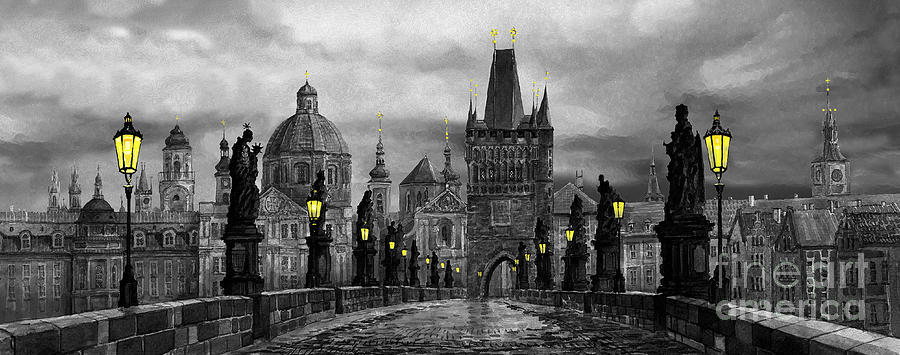 Prague Painting - Bw Prague Charles Bridge 04 by Yuriy  Shevchuk