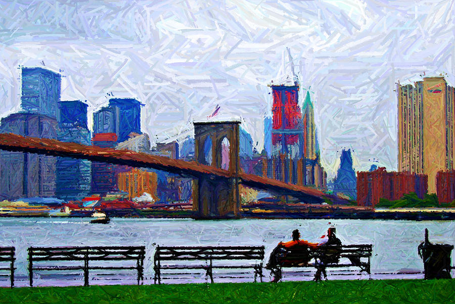 Brooklyn Digital Art - By The Water Too Sketch by Randy Aveille