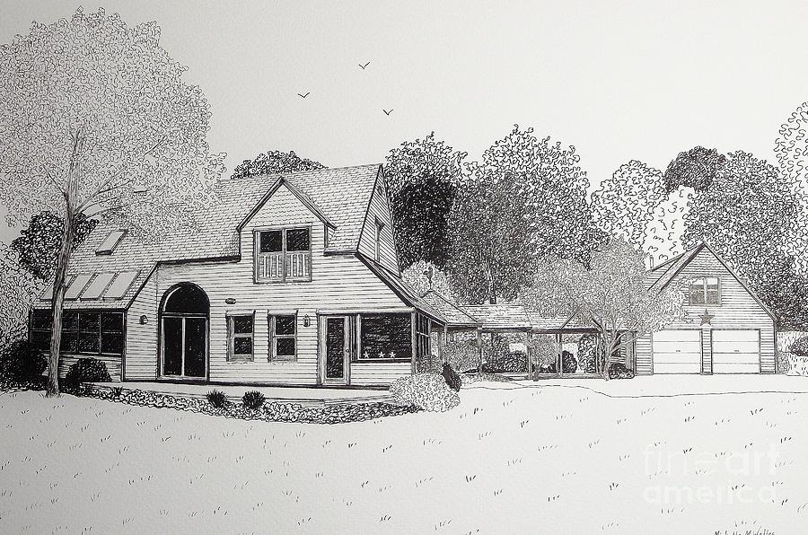 Architectural Drawing Drawing - C And Ps House  by Michelle Welles