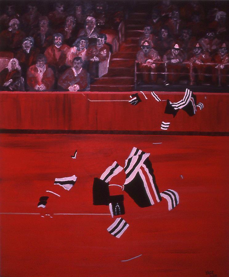 Ice Hockey Painting - C B  by Ken Yackel