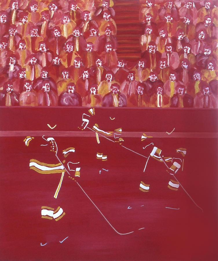 Ice Hockey Painting - C F by Ken Yackel