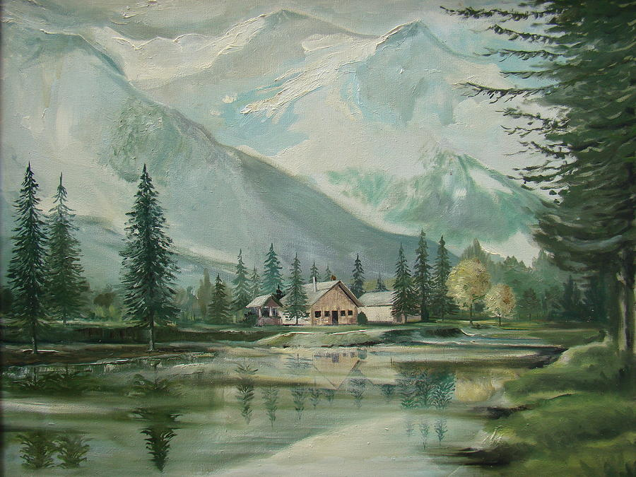 Cabin In The Valley Painting
