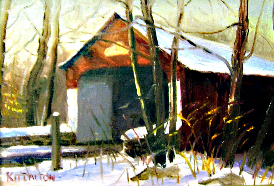 Cabin Run Painting - Cabin Run Covered Bridge by Kit Dalton