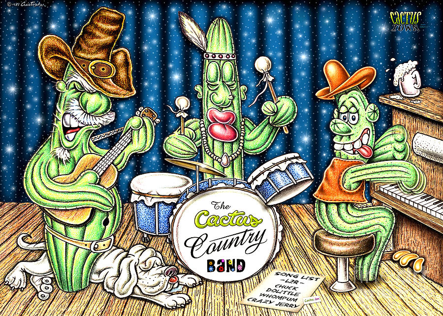 Cactus Art Drawing - Cactus Jam by Cristophers Dream Artistry