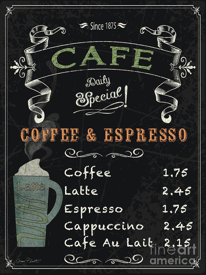 Cafe Blackboard Coffee Menu Jp3046 Painting By Jean Plout