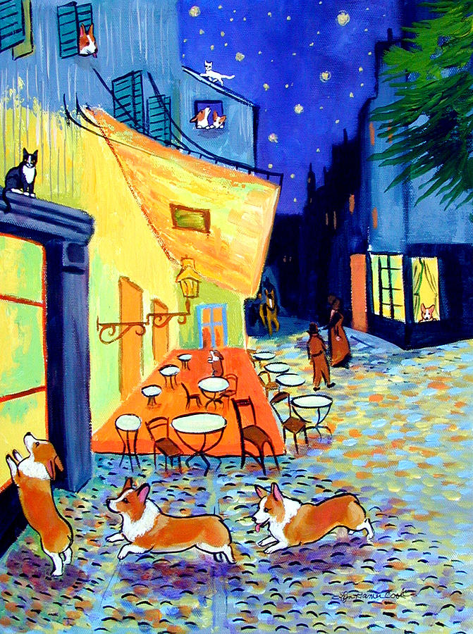 Cafe Terrace At Night - After Van Gogh With Corgis Painting