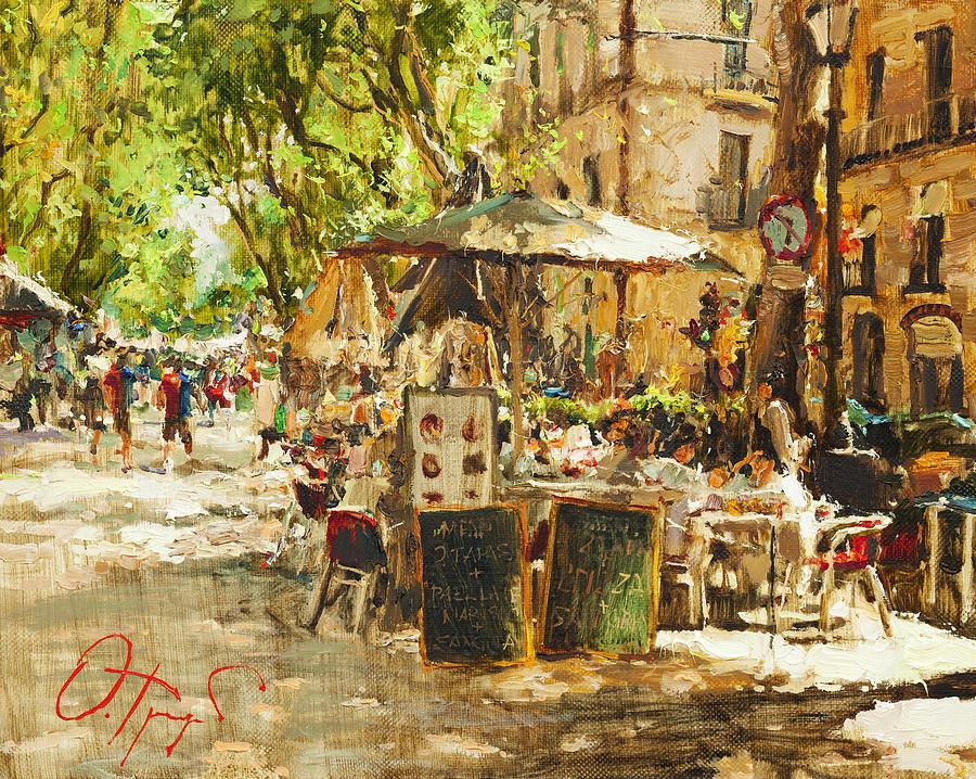 Caffee In Barcelona Painting By Oleg Trofimoff