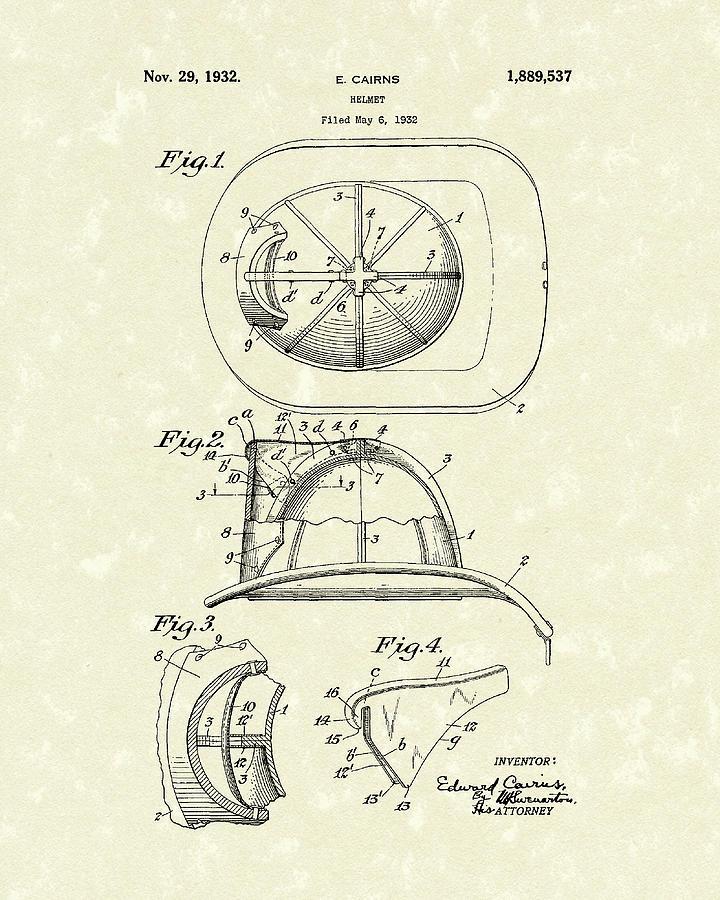Cairns Drawing - Cairns Helmet 1932 Patent Art by Prior Art Design