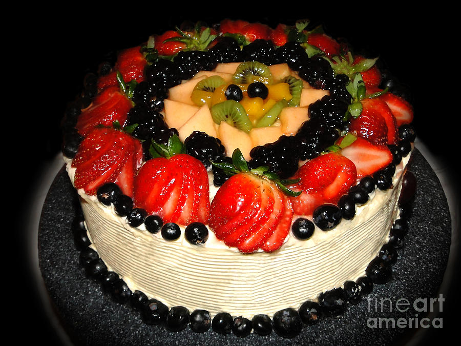 Cake Photograph - Cake Decorated With Fresh Fruit by Sue Melvin