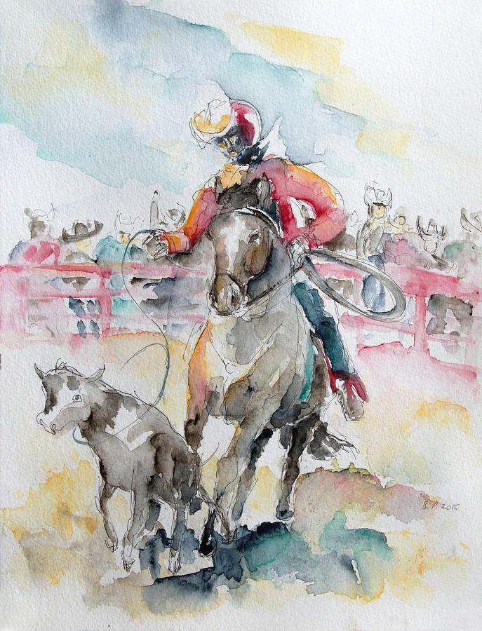 Horse Painting - Calf Roping by Barbara Pommerenke