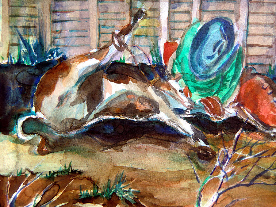 Cowboy Painting - Calf Roping by Mindy Newman