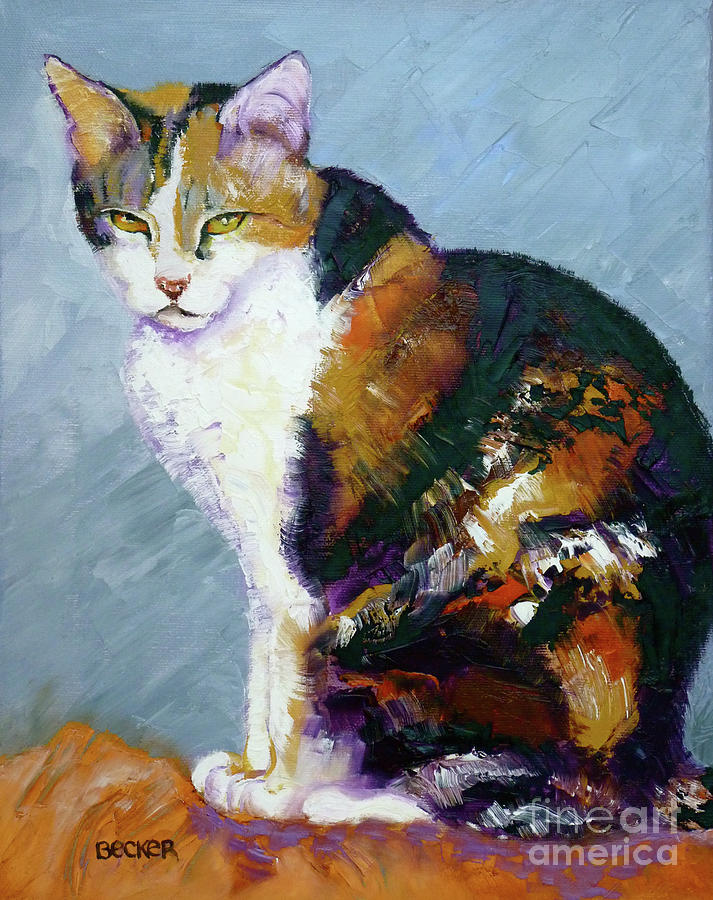 Cat Painting - Calico Buddy by Susan A Becker
