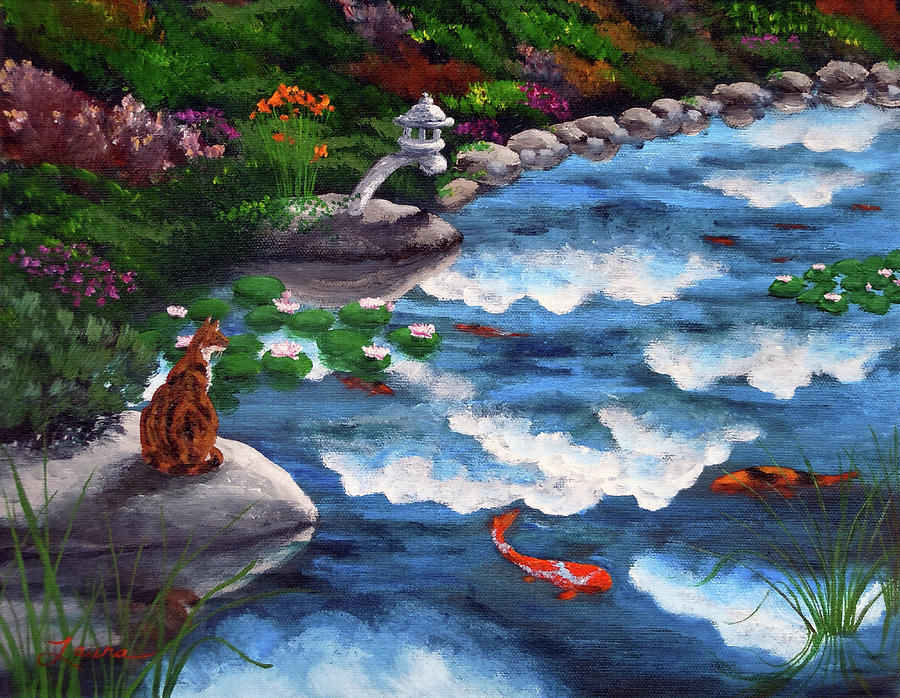 Calico cat at koi pond painting by laura iverson for Koi pool paint