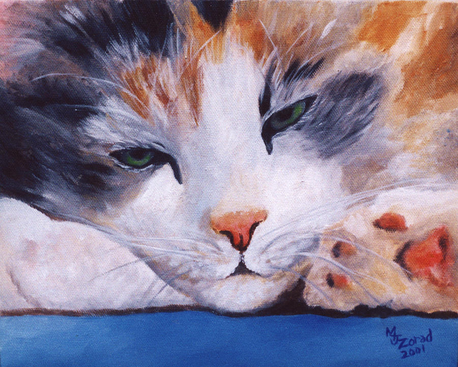 Calico Cat Print Painting - Calico Cat Power Nap Series by Mary Jo Zorad