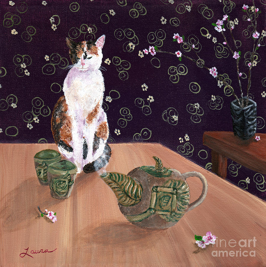 Zen Painting - Calico Tea Meditation by Laura Iverson