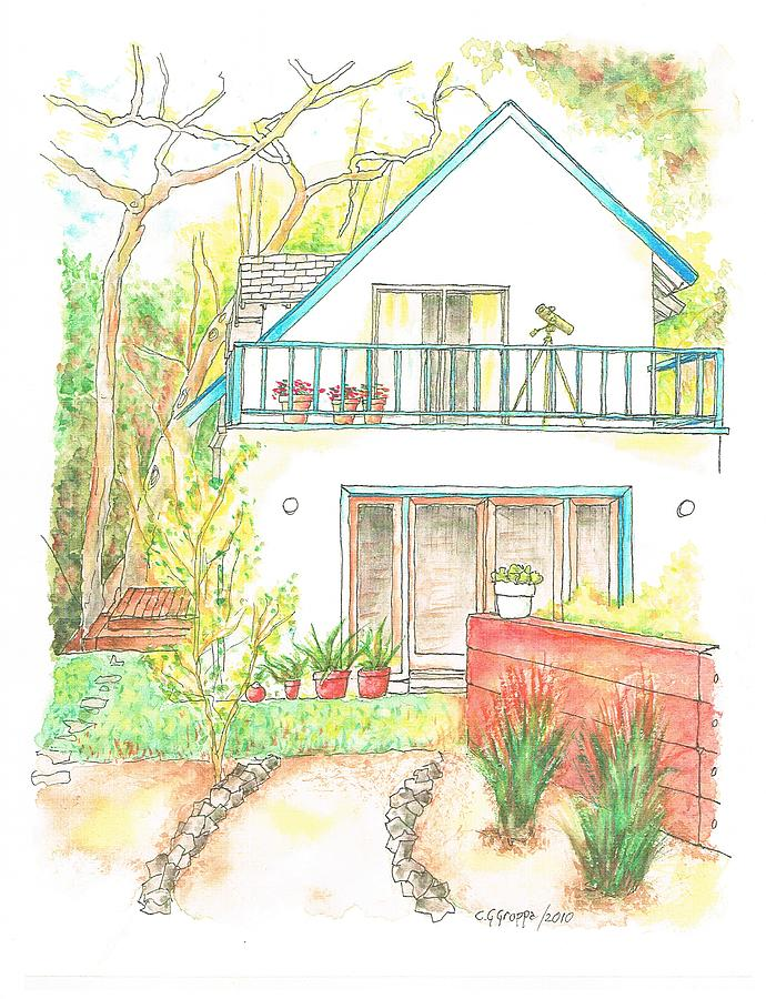Watercolors Painting - California-house by Carlos G Groppa