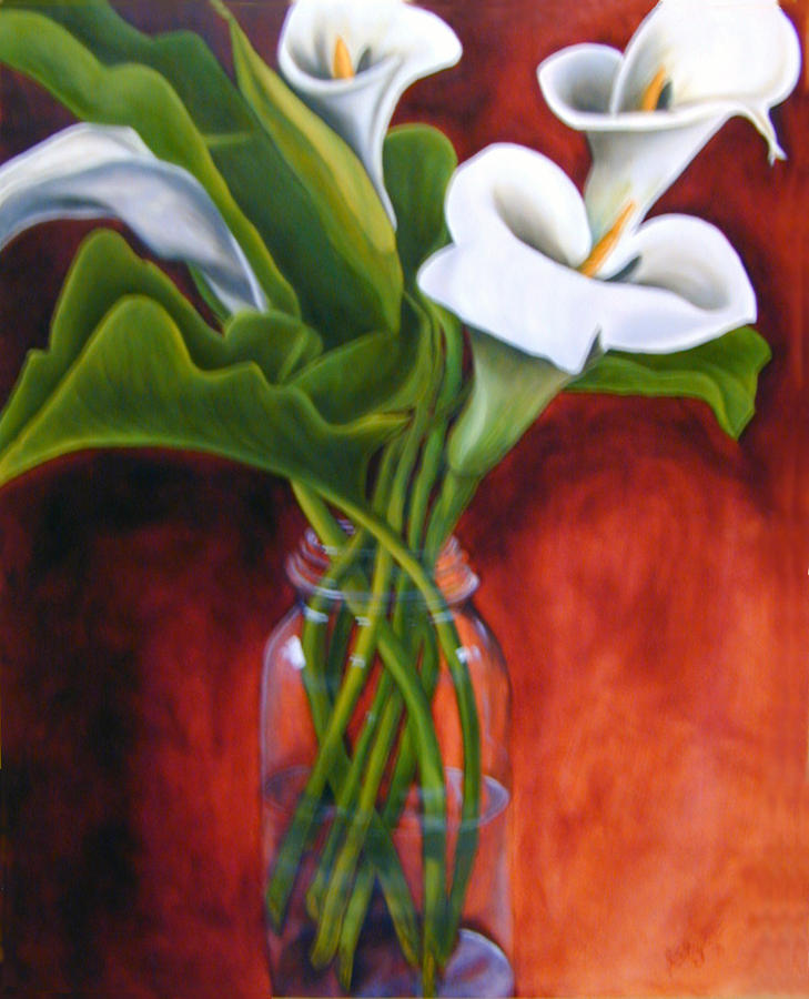 Still Life Flowers Painting - Calla Lilly On Red by Joyce Snyder