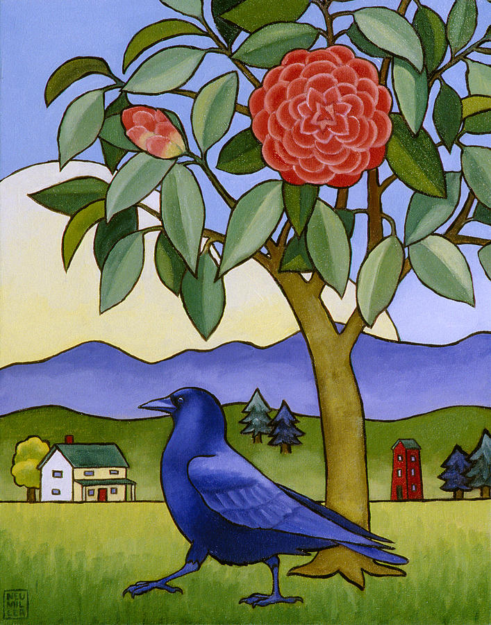 Crow Painting - Camellia And Crow by Stacey Neumiller