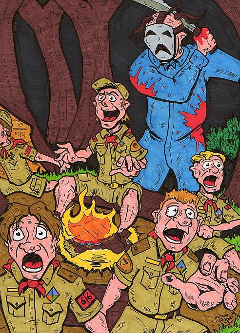 Camp Drawing - Camp Fire Story by Anthony Snyder