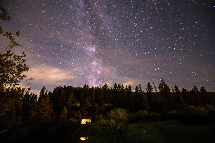 Camping Under Nighttime Milky Way Stars Photograph