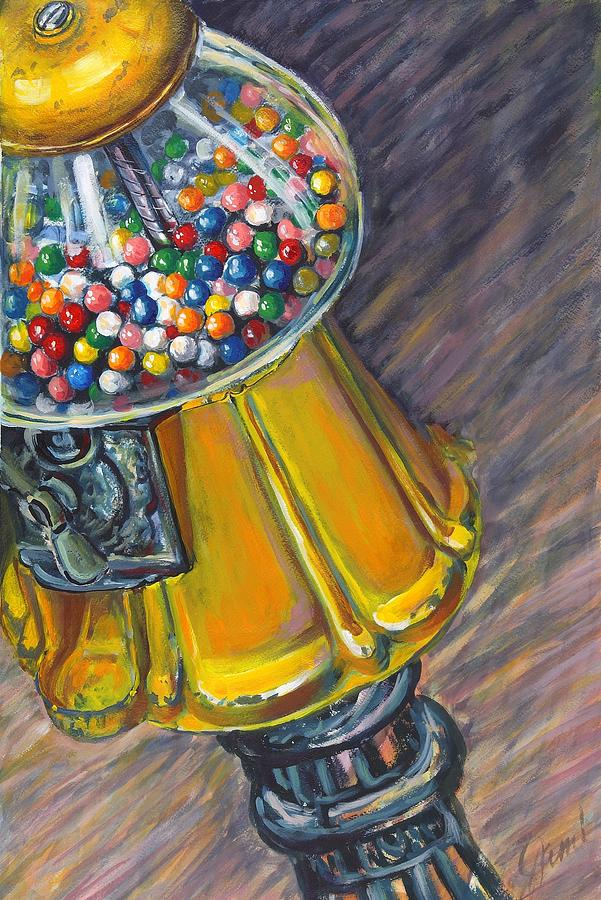 Gumballs Painting - Can I Have A Penny Please by Jami Childers