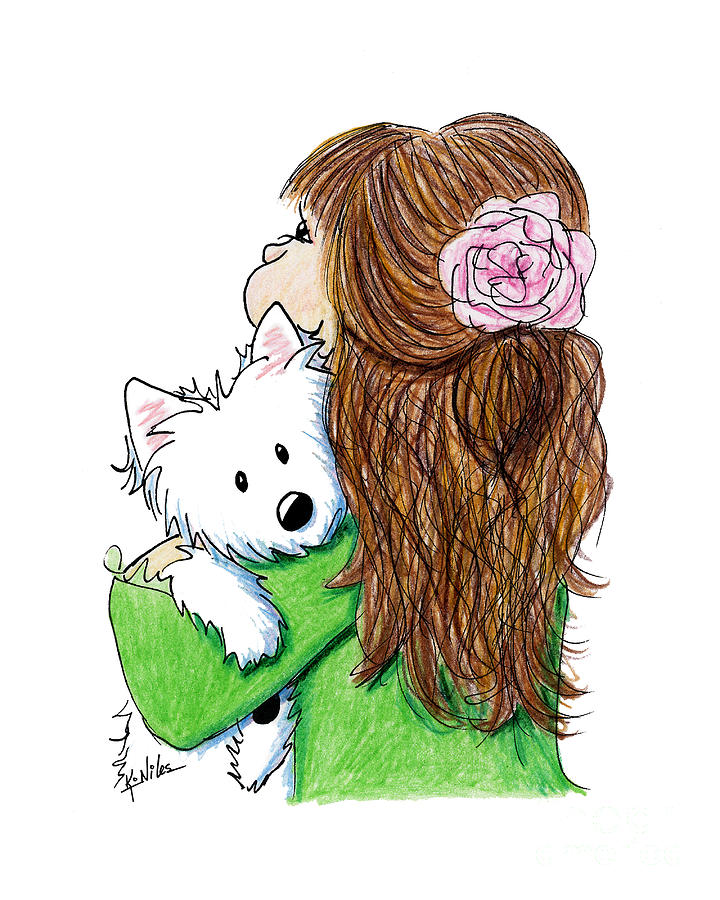Westie Terrier Drawing - Can I Keep Him? by Kim Niles