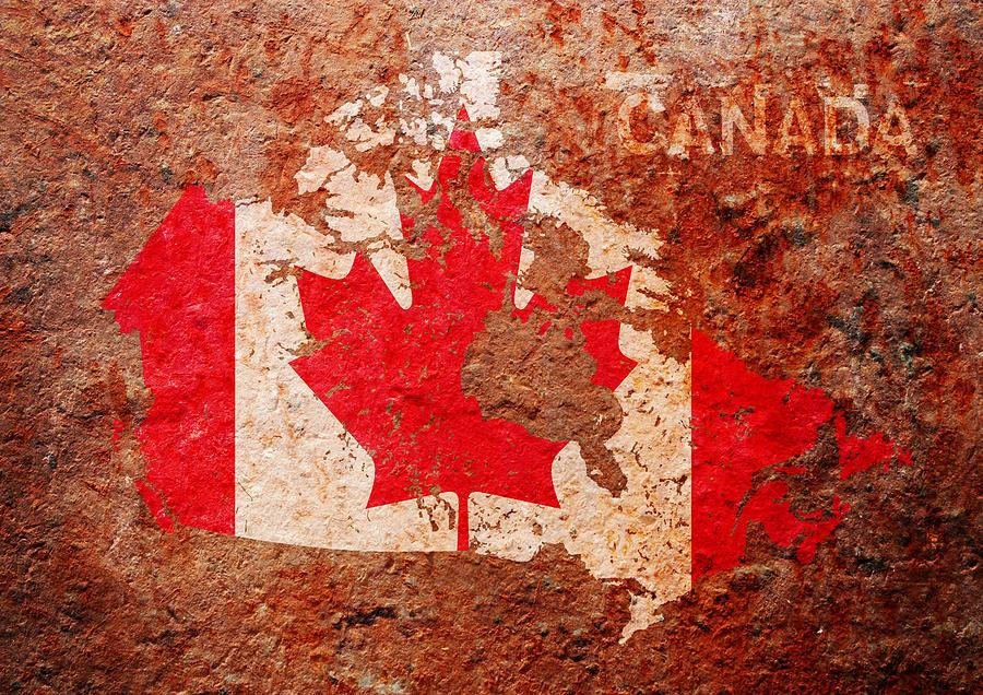 Canada Flag Digital Art - Canada Flag Map by Michael Tompsett
