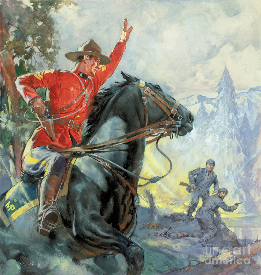 Canadian Painting - Canadian Mounties by James Edwin McConnell