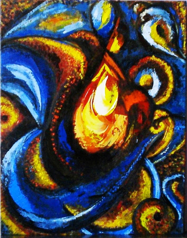 Abstract Painting - Candle In Your Heart by Harsh Malik