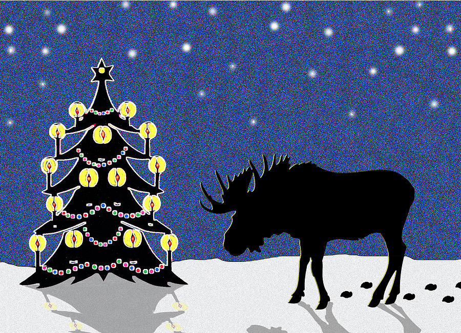 Candlelit Christmas Tree And Moose In The Snow Digital Art