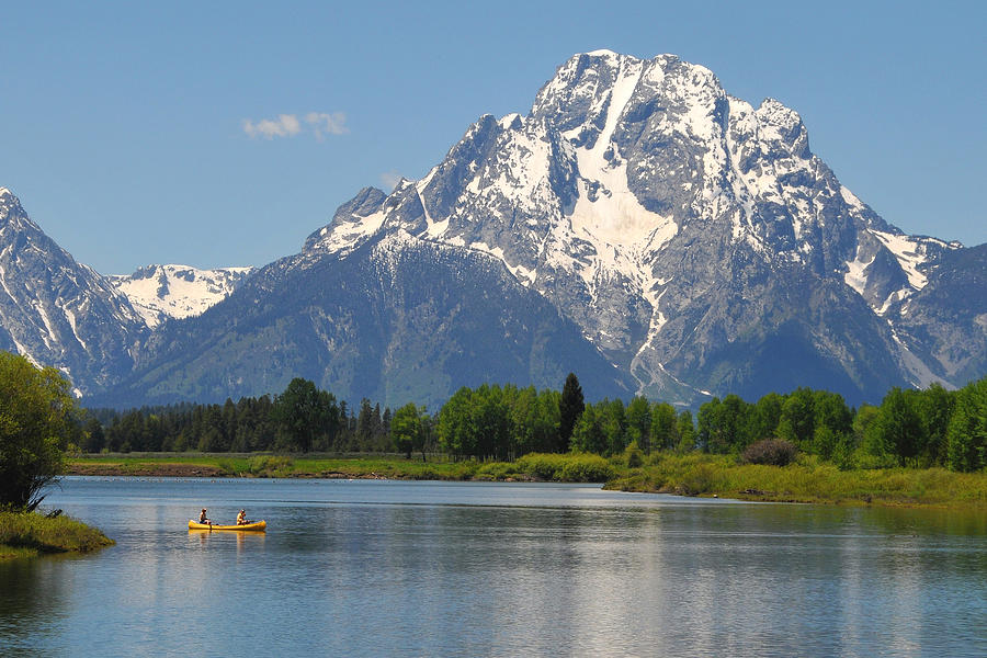 Yellow Canoe Photograph - Canoe At Oxbow Bend by Alan Lenk