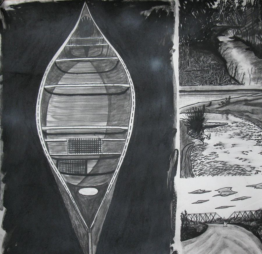 Canoe Drawing - Canoe With Three Rivers by Lee Davies