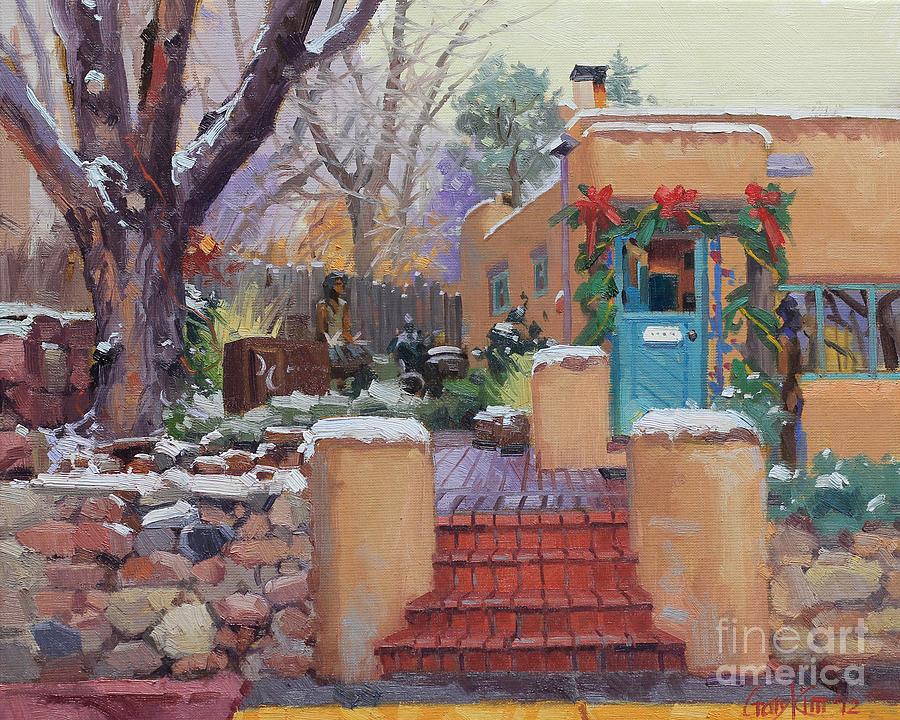 Adobe House Painting - Canyon Road Christmas by Gary Kim